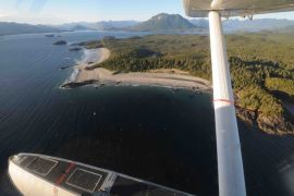 Flying into the remote river drift over beautiful Clayoquot Sound